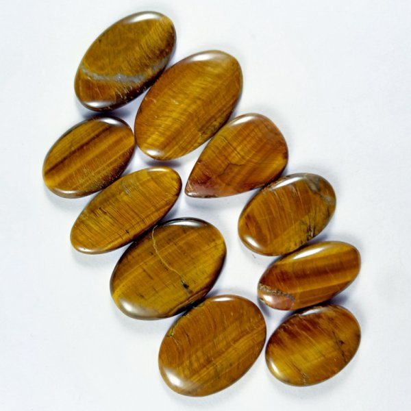 00CTS 10Pcs WHOLESALE LOT NATURAL TIGER EYE MIX CABOCHON LOOSE GEMSTONE