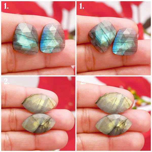 Natural Multi Fire Labradorite Rose Cut Faceted Pair Mix Shape Loose Gemstone