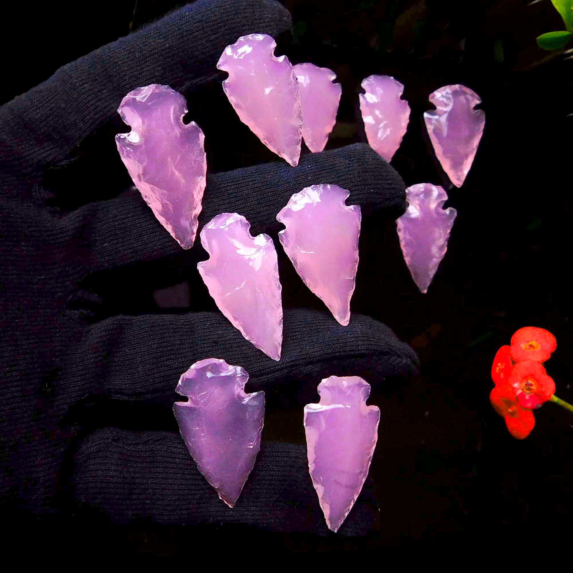 Rose Quartz Arrowhead Carving