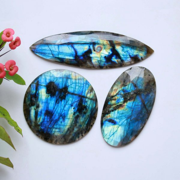 469Cts. 3Pcs Natural Labradorite rose faceted Cut cabochon Wholesale Lots loose gemstone Size 102X30 61X61 mm.
