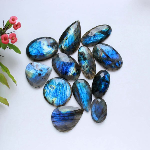 779Cts. 12Pcs Natural Labradorite rose faceted Cut cabochon Wholesale Lots loose gemstone Size 48X27 32X20 mm.
