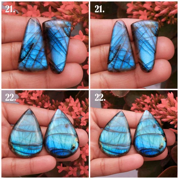Natural Power Blue Labradorite Matched pair Mix Shape cabochon Loose gemstone