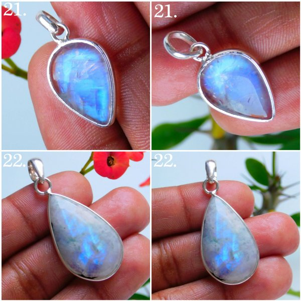 Moonstone Multi Fire Silver Plated Mix Pendant jewelry