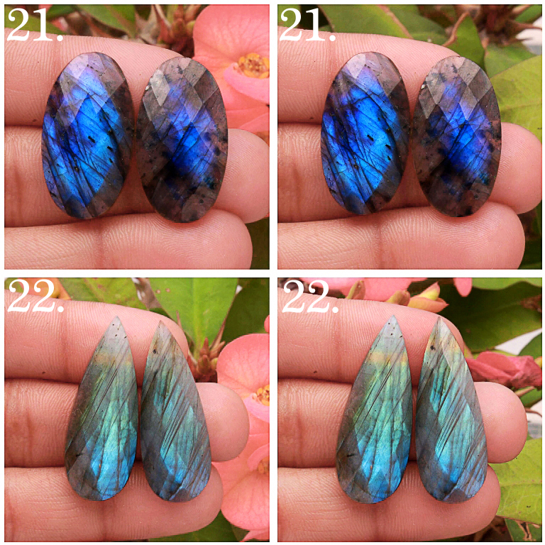 Natural Labradorite Rose Faceted pair cabochon Mix Shape Loose Gemstone