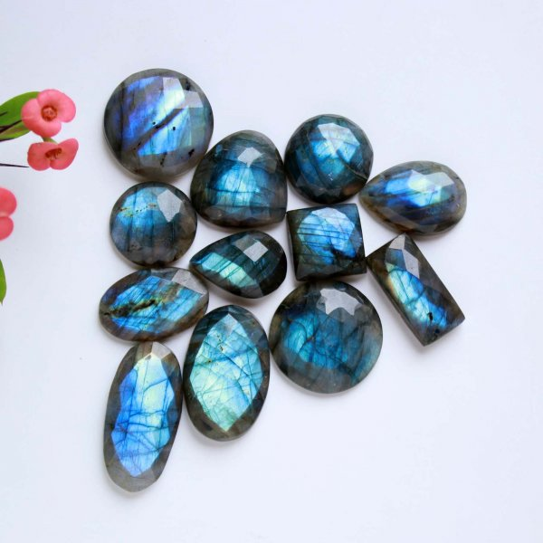 296Cts. 12Pcs Natural Labradorite rose faceted Cut cabochon Wholesale Lots loose gemstone Size 33X15 15X15 mm.