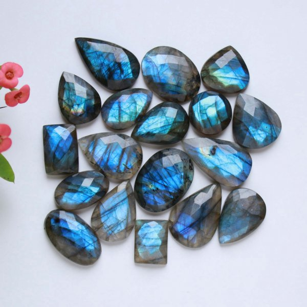 397Cts. 20Pcs Natural Labradorite rose faceted Cut cabochon Bulk Lot loose gemstone Size 30X17 17X12 mm.