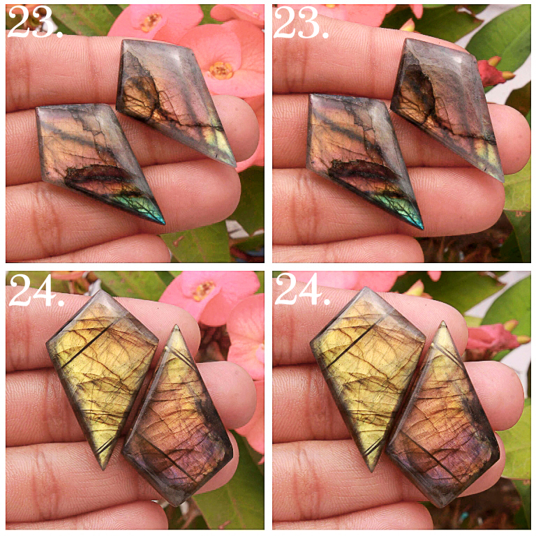 All Front To back Natural Multi Fire Labradorite Matched pair Mix Shape cabochon loose gemstone