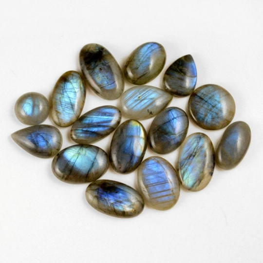 16 Pcs. 251Cts. Lot Natural Multi Fire Loose Labradorite Mix Shape Cabochon Gemstone 13-28 mm.