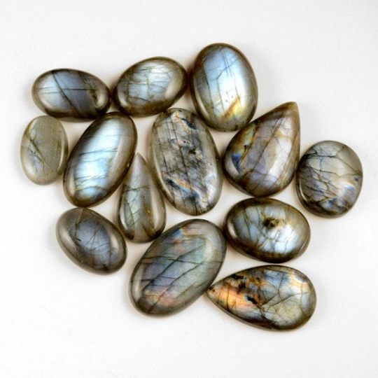15 Pcs. 422Cts. Lot Natural Multi Fire Loose Labradorite Mix Shape Cabochon Gemstone 27-44 mm.