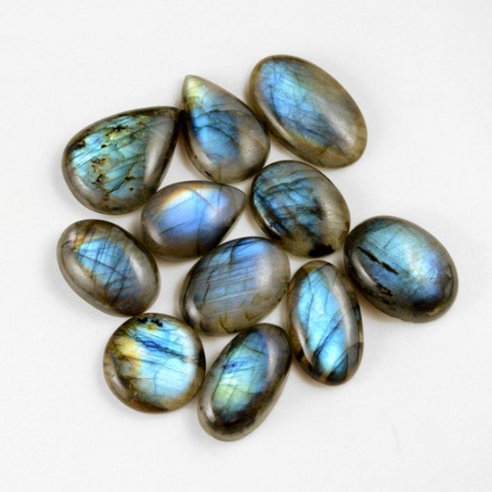 11 Pcs. 249Cts. Lot Natural Multi Fire Loose Labradorite Mix Shape Cabochon Gemstone 23-30 mm.