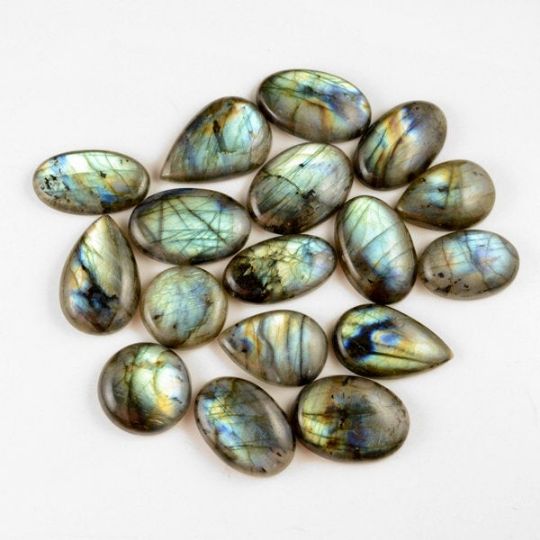 17 Pcs. 391Cts. Lot Natural Multi Fire Loose Labradorite Mix Shape Cabochon Gemstone 18-28 mm.