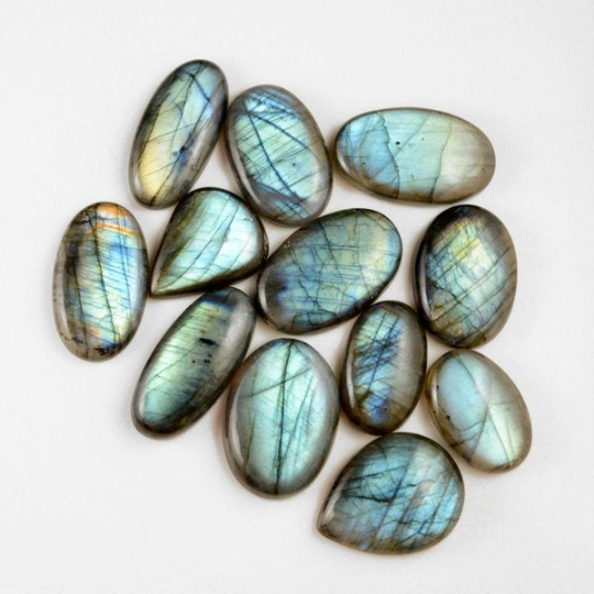 12 Pcs. 582Cts. Lot Natural Multi Fire Loose Labradorite Mix Shape Cabochon Gemstone 30-39 mm.