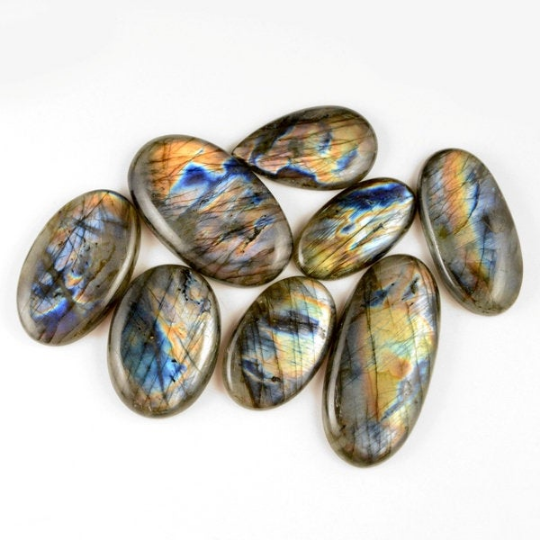 8 Pcs. 571Cts. Lot Natural Multi Fire Loose Labradorite Mix Shape Cabochon Gemstone 38-58 mm.
