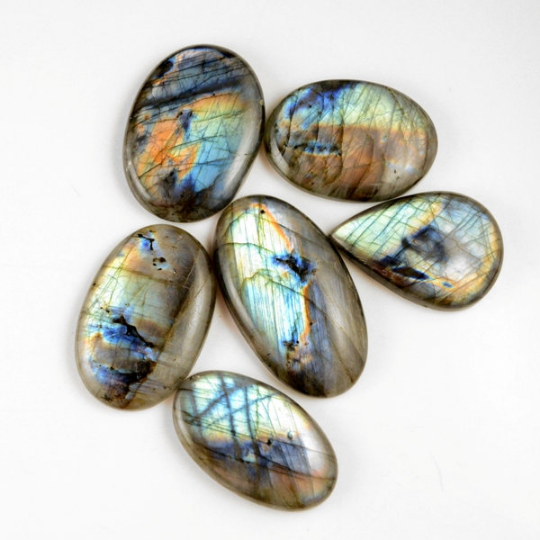 6 Pcs. 506Cts. Lot Natural Multi Fire Loose Labradorite Mix Shape Cabochon Gemstone 42-52 mm.