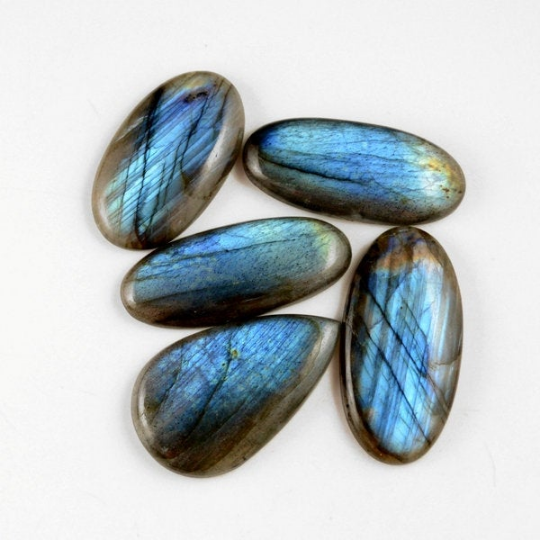 5 Pcs. 291Cts. Lot Natural Multi Fire Loose Labradorite Mix Shape Cabochon Gemstone 41-47 mm.