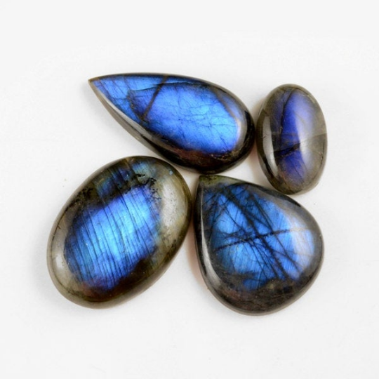 4 Pcs. 336Cts. Lot Natural Multi Fire Loose Labradorite Mix Shape Cabochon Gemstone 28-46 mm.