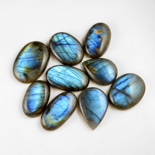 9 Pcs. 620Cts. Lot Natural Multi Fire Loose Labradorite Mix Shape Cabochon Gemstone 34-44 mm.
