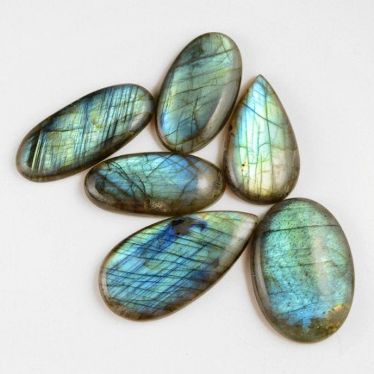 6 Pcs. 423Cts. Lot Natural Multi Fire Loose Labradorite Mix Shape Cabochon Gemstone 43-55 mm.