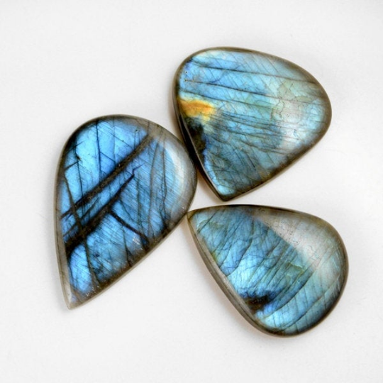 3 Pcs. 443Cts. Lot Natural Multi Fire Loose Labradorite Pear Shape Cabochon Gemstone 48-64 mm.
