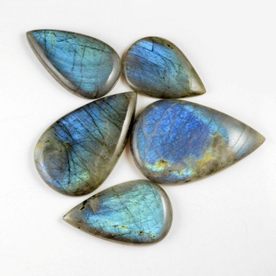 5 Pcs. 971Cts. Lot Natural Multi Fire Loose Labradorite Pear Shape Cabochon Gemstone 55-79 mm.