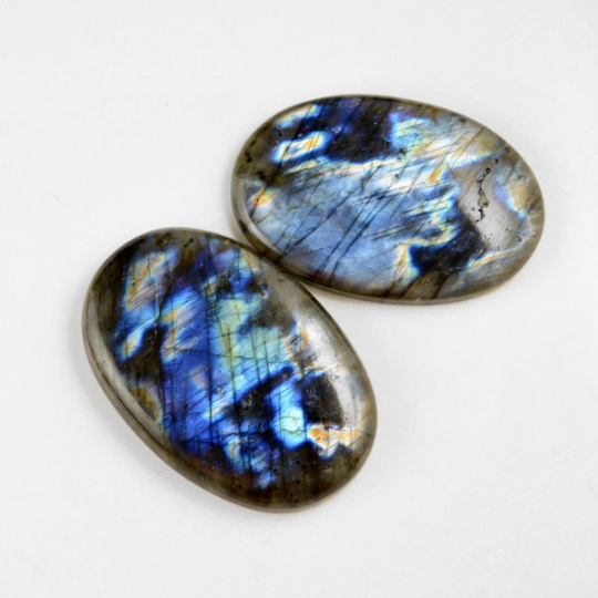 2 Pcs. 311Cts. Lot Natural Multi Fire Loose Labradorite Oval Shape Cabochon Gemstone 55-59 mm.