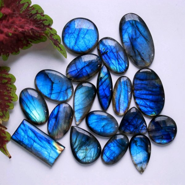 567Cts. 18Pcs. Natural Blue Labradorite Wholesale Lot Mix Cabochon Gemstone 45X24 22X22