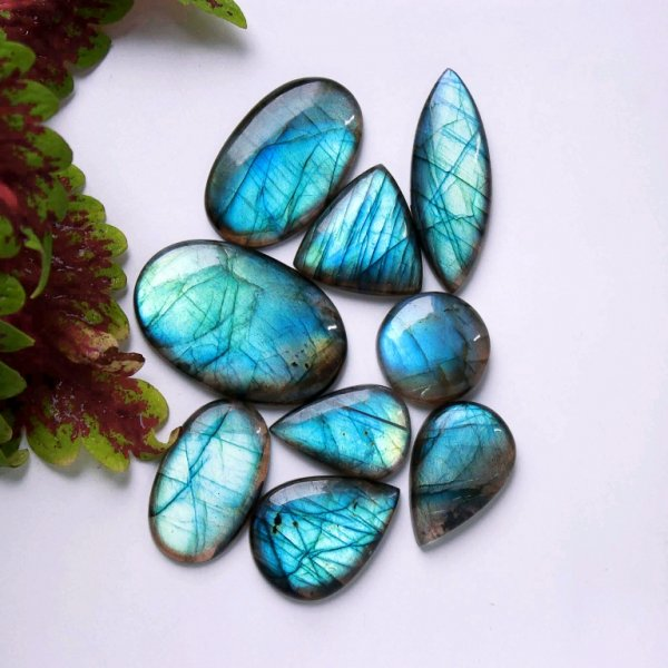 300Cts. 9Pcs. Natural Blue Labradorite Wholesale Lot Mix Cabochon Gemstone 44x29 23X23