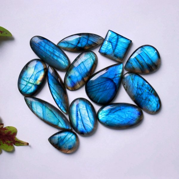 349Cts. 13Pcs. Natural Blue Labradorite Wholesale Lot Mix Cabochon Gemstone 37x24 22X17