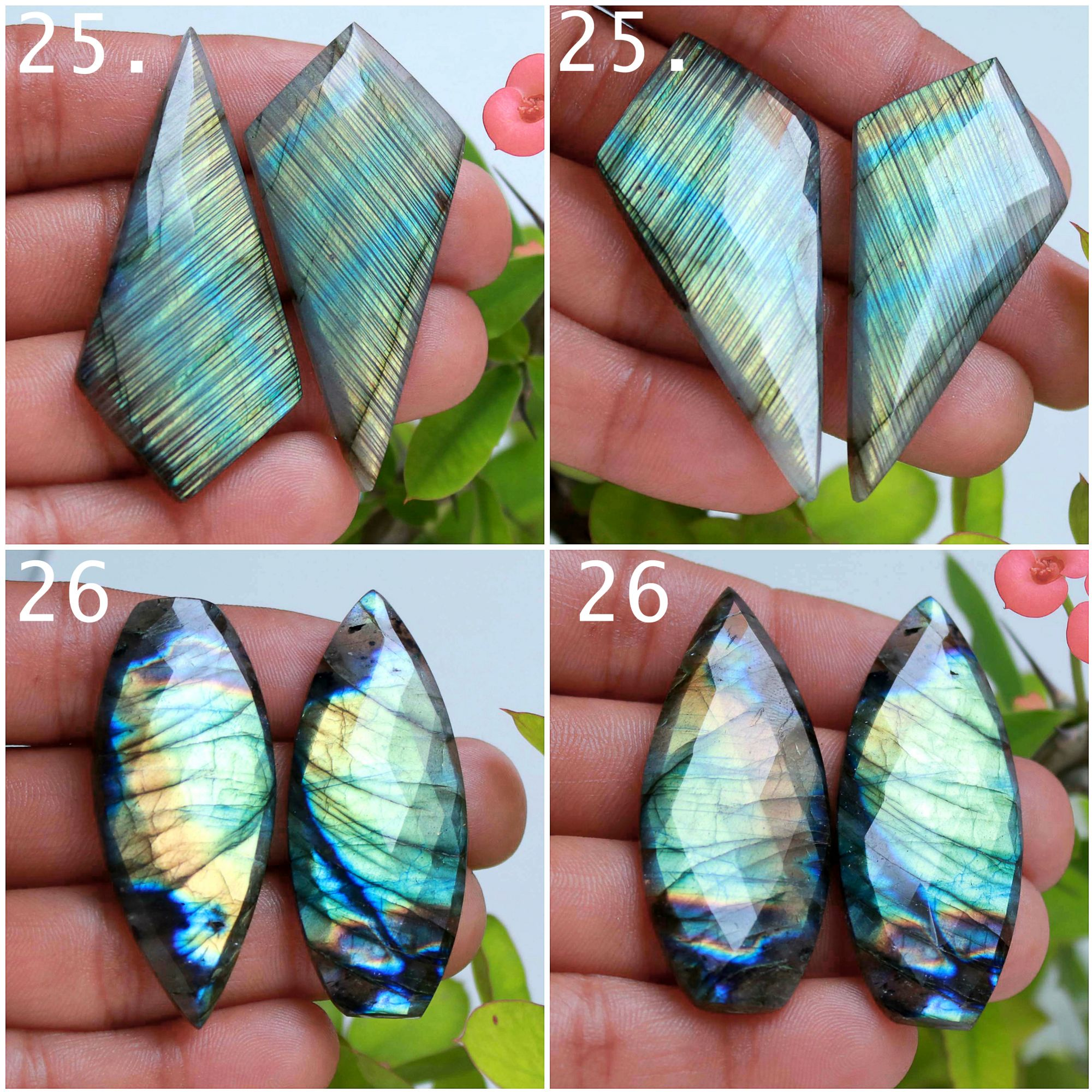 Labradorite rose faceted pair cabochon loose gemstone