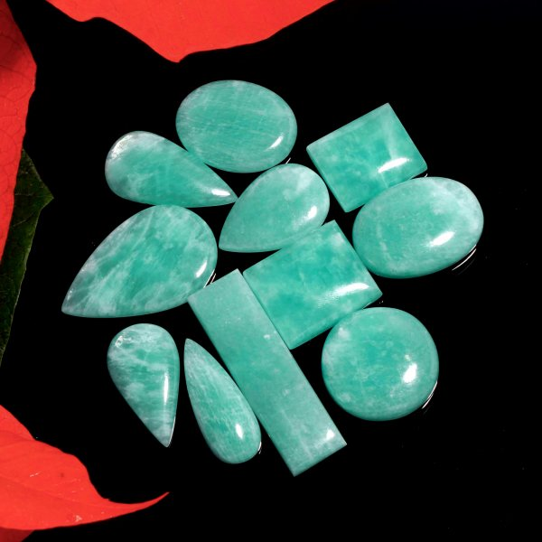 328Cts. 11Pcs. Natural Green Amazonite Wholesale Lot Mix Cabochon Loose Gemstone 48X14 To 22x18 mm.