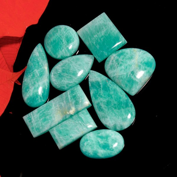242Cts. 9Pcs. Natural Green Amazonite Wholesale Lot Mix Cabochon Loose Gemstone 40X21 To 21X21 mm.