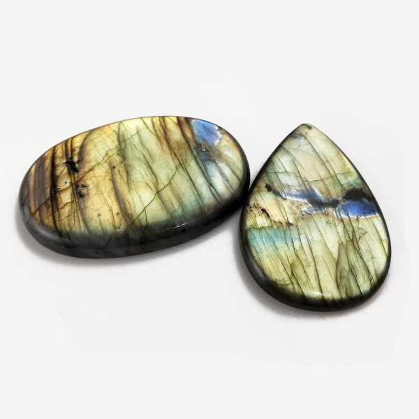 2pcs 467cts Labradorite lot 65X45mm - 70X48mm