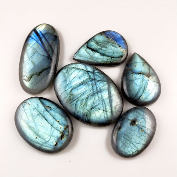 6pcs 596cts Labradorite lot 35X22mm - 56X40mm