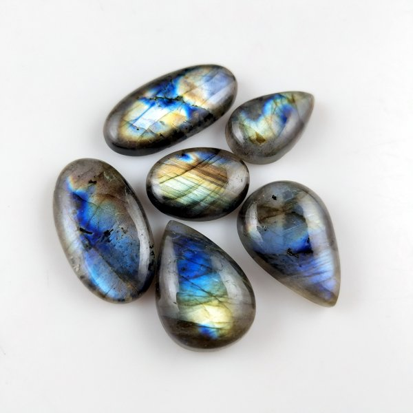 6pcs 98cts Labradorite lot 18X12mm - 26X14mm