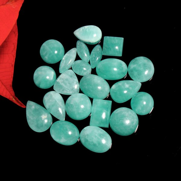 102Cts. 21Pcs. Natural Green Amazonite Wholesale Lot Mix Cabochon Loose Gemstone 15X10 To 9X7 mm.