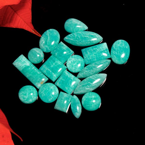 136Cts. 18Pcs. Natural Green Amazonite Wholesale Lot Mix Cabochon Loose Gemstone 26X10 To 11X11mm.