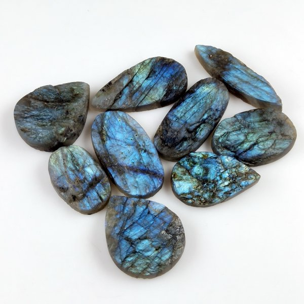 9pcs 434cts Labradorite Druzy lot 30X20mm - 44X22mm