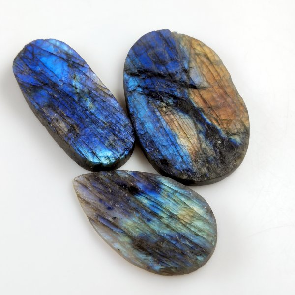 3pcs 326cts Labradorite Druzy lot 48X28mm - 58X40mm