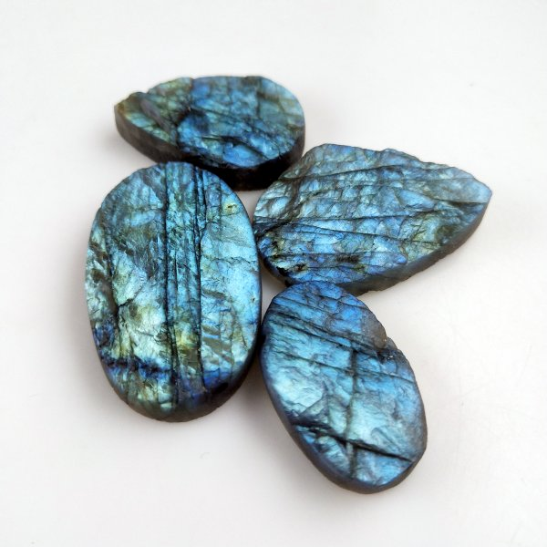 4pcs 208cts Labradorite Druzy lot 30X18mm - 42X26mm