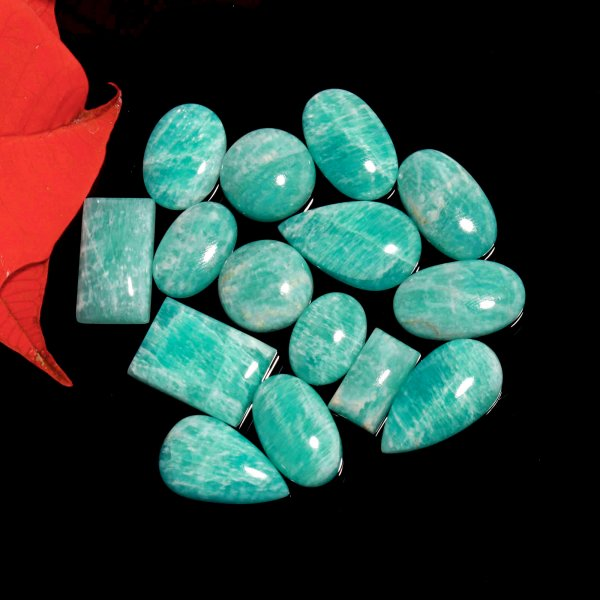 165Cts. 15Pcs. Natural Green Amazonite Wholesale Lot Mix Cabochon Loose Gemstone 24X13 To 16x32 mm.