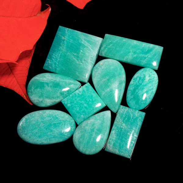 264Cts. 9Pcs. Natural Green Amazonite Wholesale Lot Mix Cabochon Loose Gemstone 36x14 To 26x16 mm.