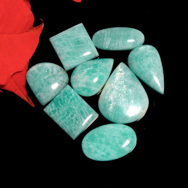 200Cts. 8Pcs. Natural Green Amazonite Wholesale Lot Mix Cabochon Loose Gemstone 35x28 To 25x24mm.