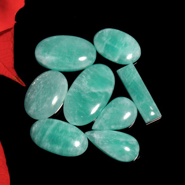 214Cts. 8Pcs. Natural Green Amazonite Wholesale Lot Mix Cabochon Loose Gemstone 39x22 To 27X18 mm.