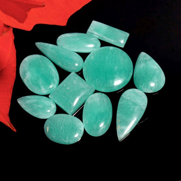 289Cts.11Pcs. Natural Green Amazonite Wholesale Lot Mix Cabochon Loose Gemstone 37X14 To 27x15 mm.