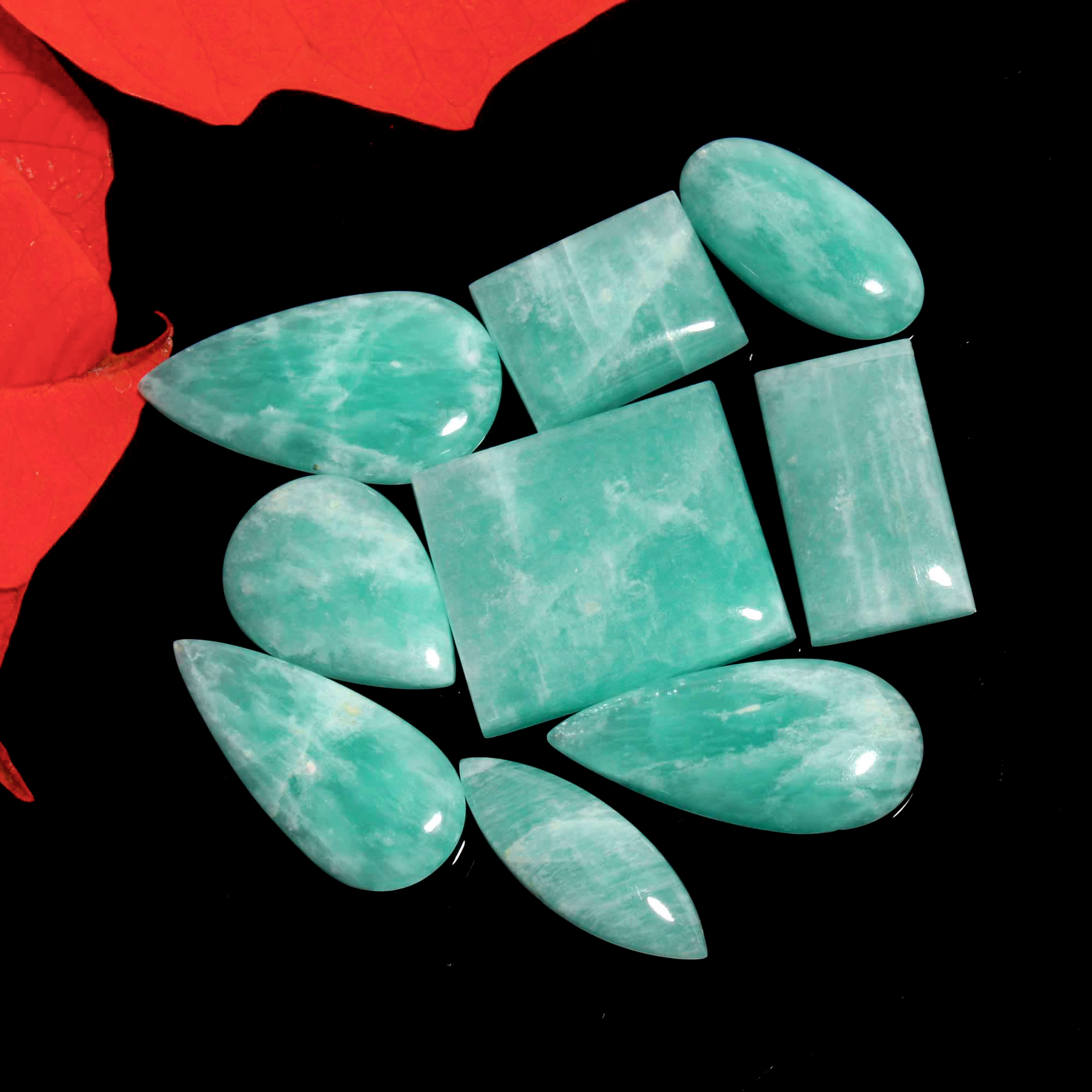 264Cts. 9Pcs. Natural Green Amazonite Wholesale Lot Mix Cabochon Loose Gemstone 38x21 To 28x20 mm.