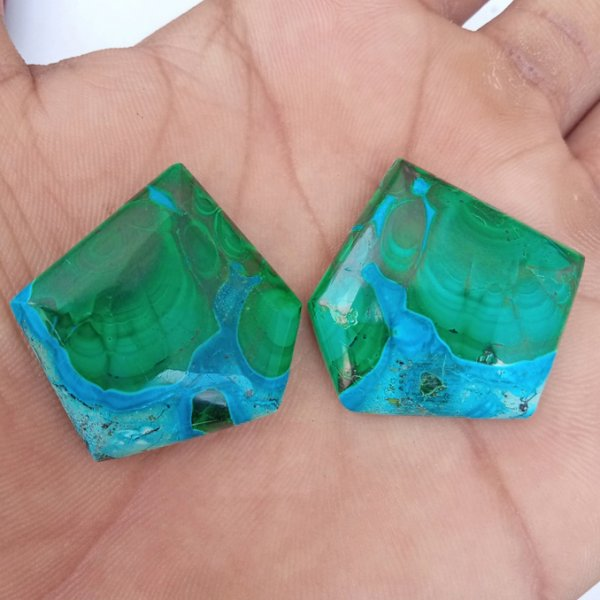 117CTS Natural Malachite Chrysocholla Earring Pair Cabochon Loose Gemstone