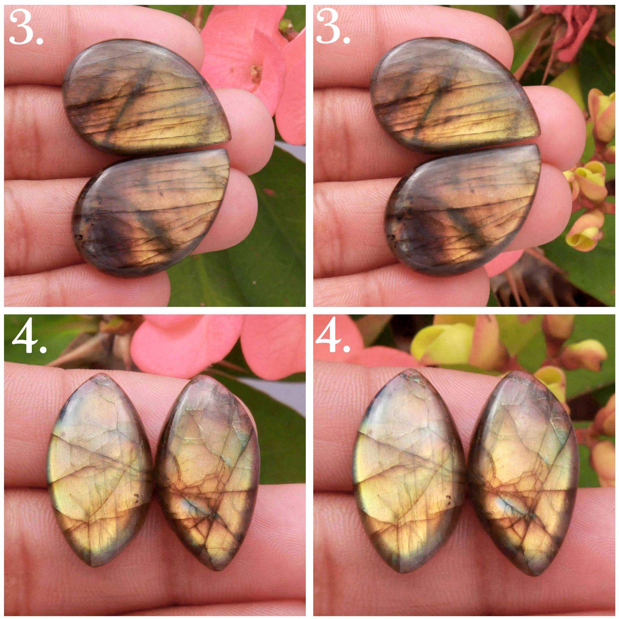 Natural Yellow Fire Labradorite Matched pair Mix Shape cabochon Loose gemstone