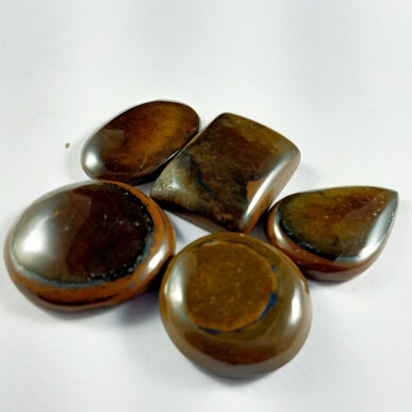 273CTS 5Pcs. WHOLESALE LOT NATURAL TIGER EYE MIX CABOCHON LOOSE GEMSTONE