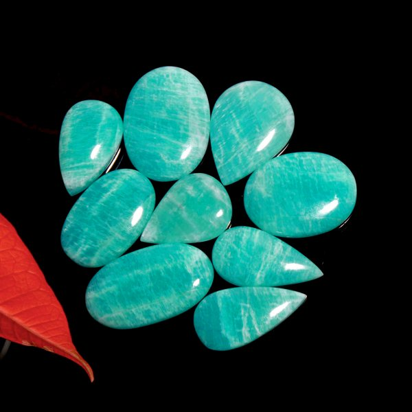 251Cts. 9Pcs. Natural Green Amazonite Wholesale Lot Mix Cabochon Loose Gemstone 36x21 To 27x19 mm.