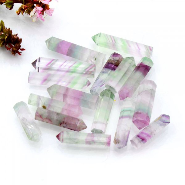 "390Cts. 16Pcs Natural Rainbow Fluorite Point Wand Mini Tower Pencil Crystal Polished Rainbow Fluorite Wholesale Lots Size 1.5"" 2"" Inch"